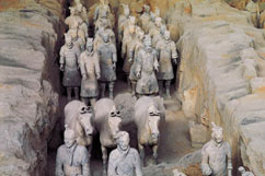 7000 life size Terra Cotta Warriors and horses, buried 2000 years ago to guard the tomb of the First Emporer